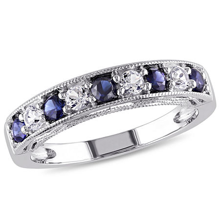 Modern Bride Gemstone 2MM Lab Created Blue Sapphire Sterling Silver Band, 6 , No Color Family