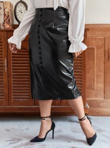 Plus M-slit Waist Button Front PU Skirt
