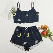 Cami Schlafanzug Set mit Galaxie Muster und gekraeuseltem Saum