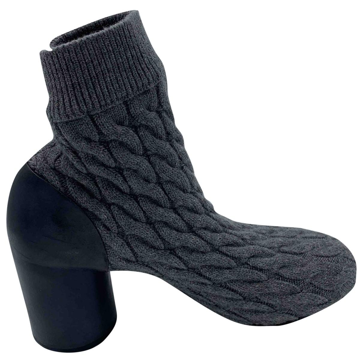 Maison Martin Margiela \N Grey Cloth Ankle boots for Women 39.5 EU