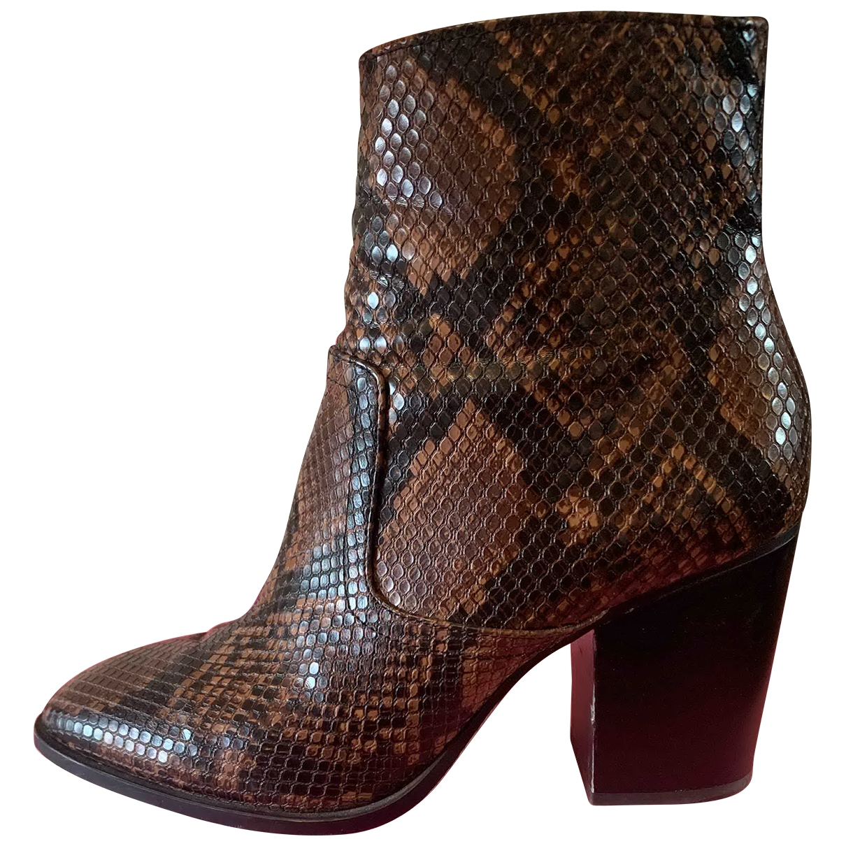Zara \N Brown Water snake Ankle boots for Women 38 EU