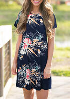 Floral Zipper O-Neck Mini Dress - Navy Blue