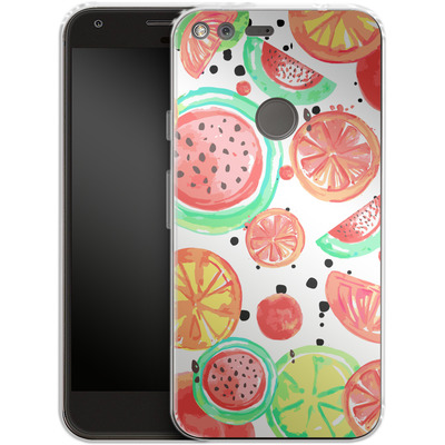Google Pixel Silikon Handyhuelle - Fruit Crush von Mukta Lata Barua