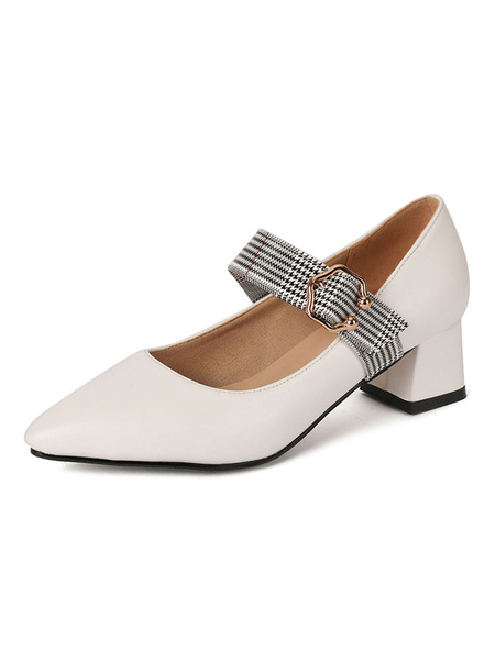 Milanoo Women Block Heels Pointed Toe Buckle Detail Slip On Pumps Plus Size Mary Jane Shoes