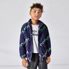 Boys Letter Graphic Velvet Jacket