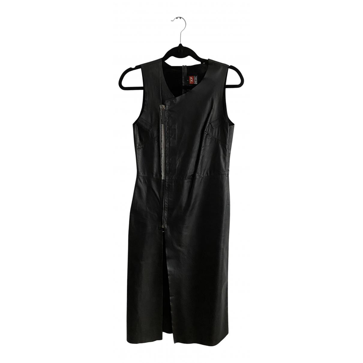 Diesel \N Kleid in  Schwarz Leder