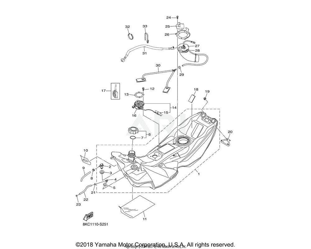 Yamaha OEM 8JP-F4491-00-00 BRACKET, FUEL PUMP