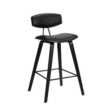 LCFOBABLBL30 Fox 30 Mid-Century Bar Height Barstool in Black Faux Leather with Black Brushed