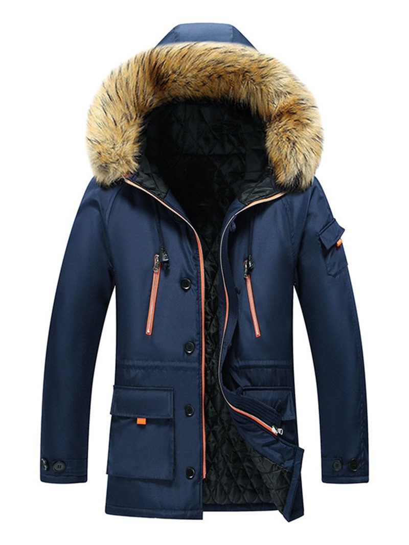 Ericdress Color Block Hooded European Mens Down Jacket
