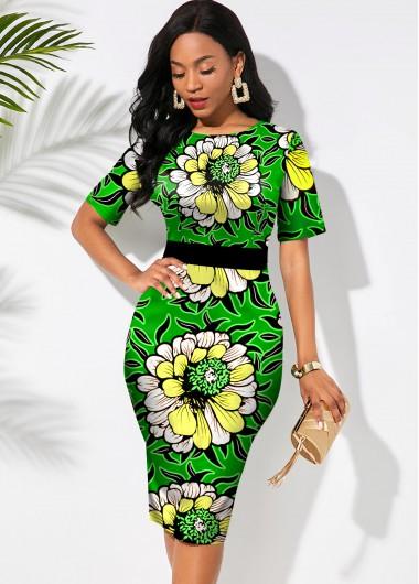 Wedding Guest Dress Round Neck Short Sleeve Floral Print Dress - XS