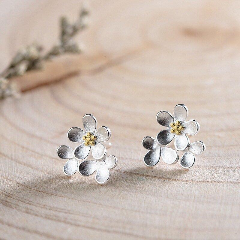 Simple 925 Sterling Silver Earring Sandblasted Stereoscopic Flower Ear Stud