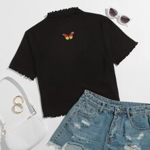 Plus Butterfly Embroidered Lettuce Trim Tee