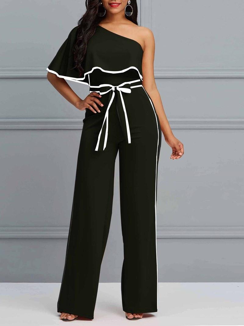 Ericdress Plain Oblique Shoulder Striped Women's Jumpsuit