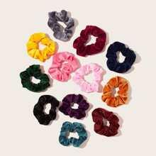 Goma de pelo de terciopelo simple 12 piezas