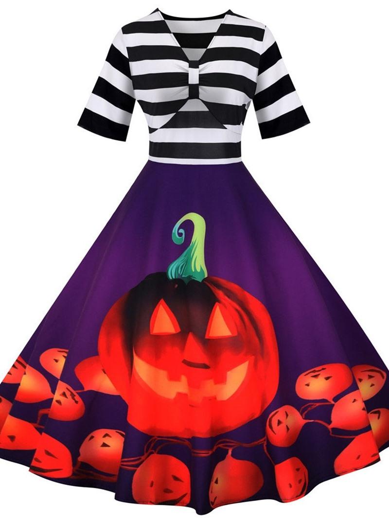 Ericdress Mid-Calf V-Neck Patchwork Mid Waist Dress