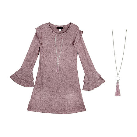 by&by Big Girls Long and Flutter Sleeve Sweater Dress, X-large (16) , Pink