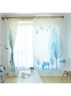 Blackout Watercolor Blue Jungle Elk Polyester Fabric Curtain