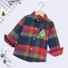 Camisas para niño pequeño Bolsillo A cuadros Preppy
