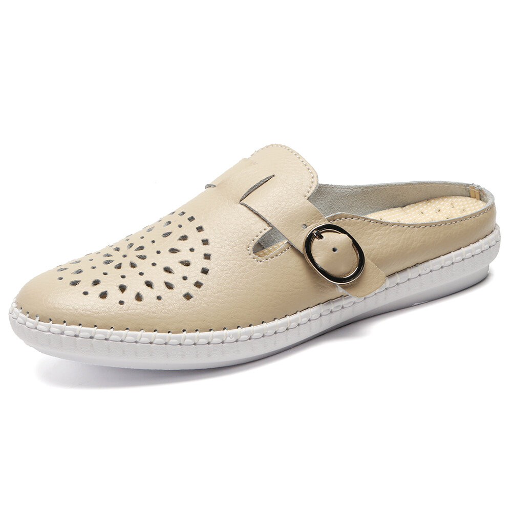Comfortable Hollow Out Slip On Backless Lazy Flat Shoes