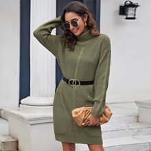 Turtle Neck Cable Knit Sweater Dress Without Belt
