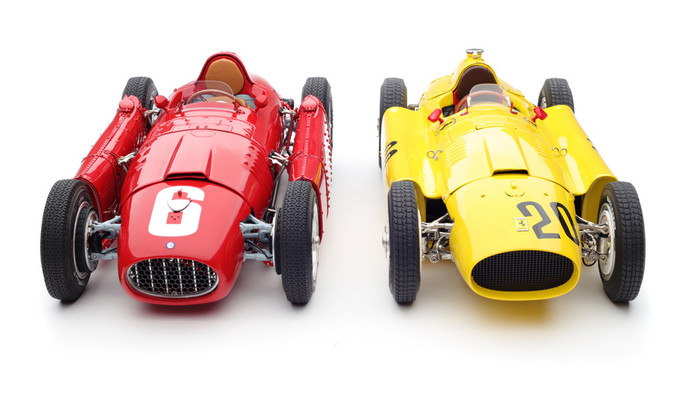 Bundle of 2 Cars 1956 Ferrari D50 20 Andre Pilette 6th Place Grand Prix of Belgium (Yellow) and 1955 Ferrari Lancia D50 6 Alberto Ascari Winner Grand