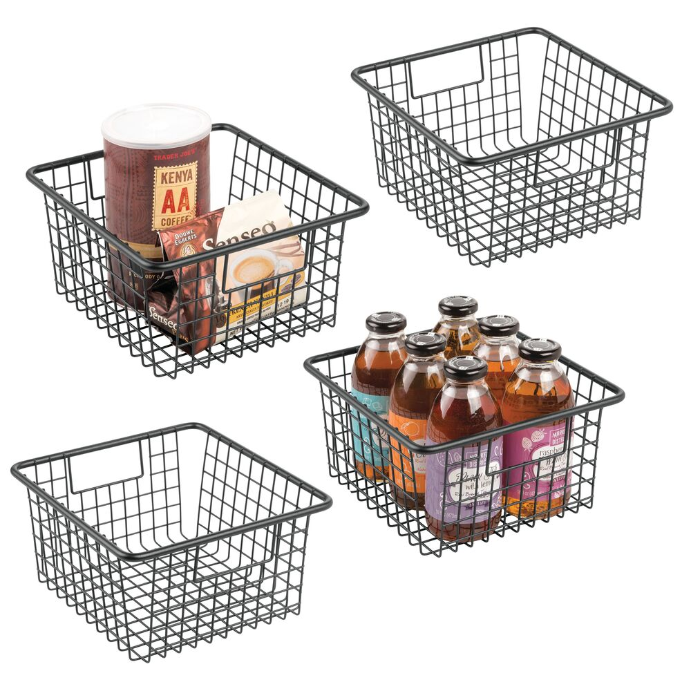 Small Metal Wire Kitchen Pantry Food Storage Basket in Black, 10.25 x 9.25 x 5.25, Set of 4, by mDesign