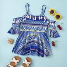 Toddler Girls Tribal Print Tassel One Piece Swimsuit