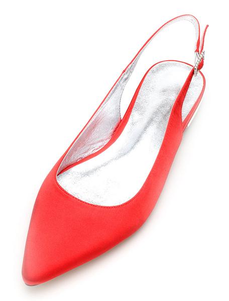 Milanoo Zapatos de novia de seda y saten Zapatos de Fiesta Plana Zapatos blanco  Zapatos de boda de puntera puntiaguada 1.5cm