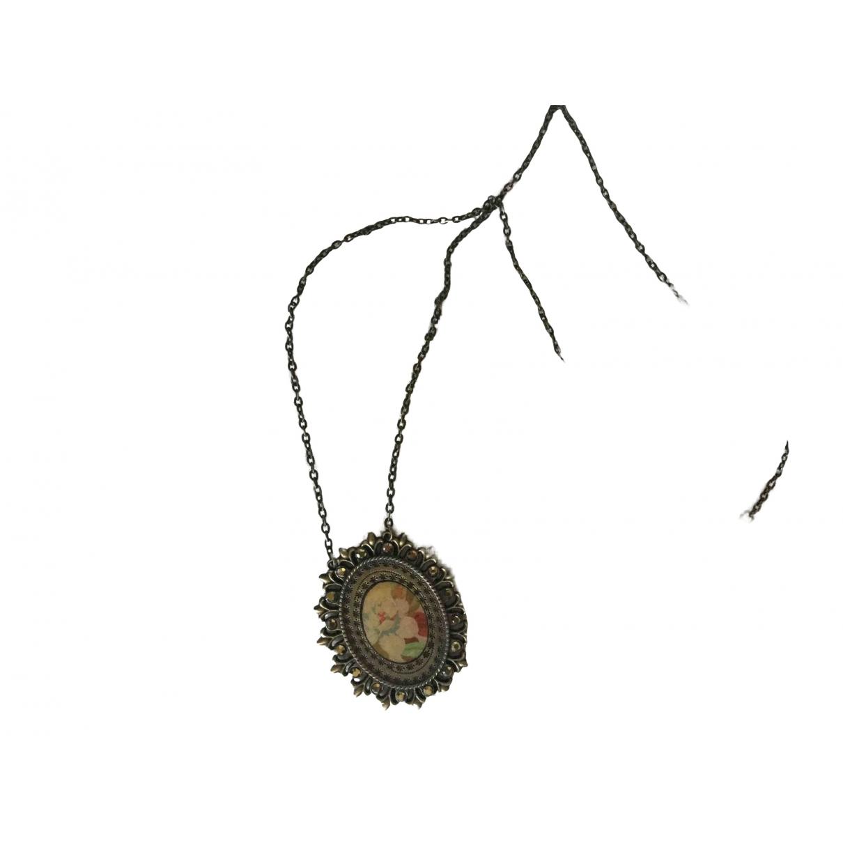 Non Signe / Unsigned Motifs Floraux Halskette in  Metallic Metall