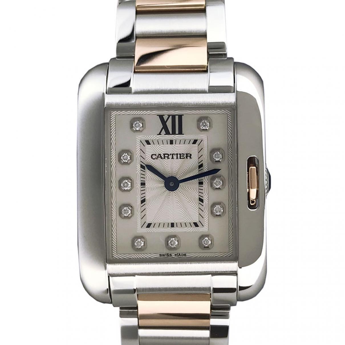 Cartier Tank Anglaise Uhr in  Silber Gold und Stahl