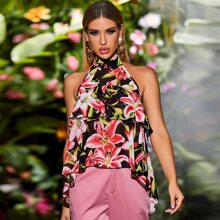 Kleid mit ueberallem Blumen Muster und Schleife hinten