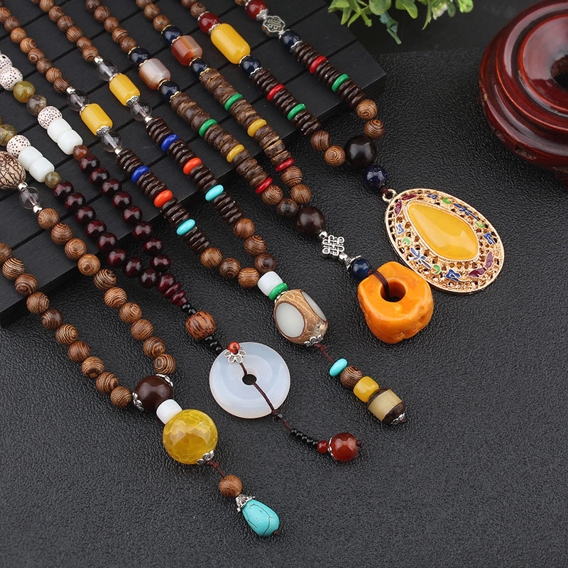 Ethnic Geometric Pendant Long Necklace Jade Agate Handmade String Beads Long Necklace
