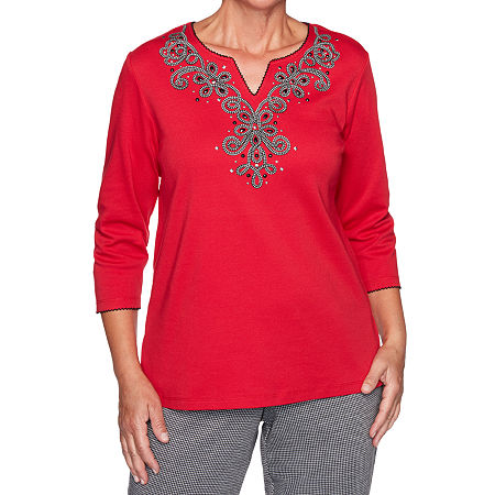 Alfred Dunner Knightsbridge Station Womens Split Crew Neck 3/4 Sleeve Knit Embroidered Blouse, Medium , Red