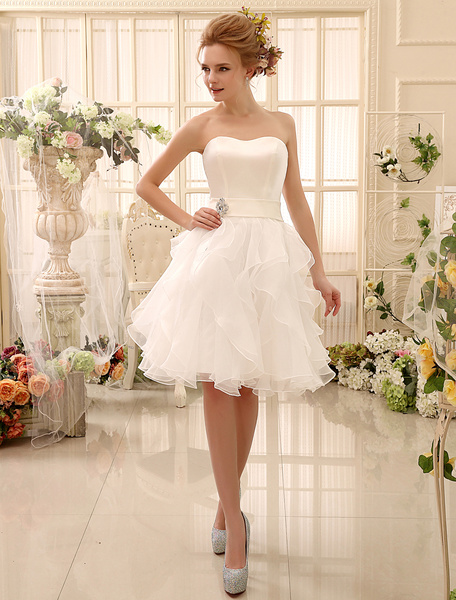 Milanoo Short Wedding Dress Strapless Tiered Bridal Dress Sweetheart Neckline Satin Knee Length Wedding Gown