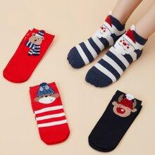 4 pares calcetines con patron de Papa Noel de Navidad