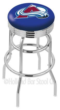 L7C3C25ColAva 25 L7C3C - Chrome Double Ring Colorado Avalanche Swivel Bar Stool with 2.5 Ribbed Accent