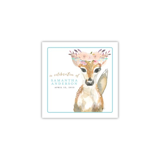 100 Pack of Gartner Studios® Personalized Deer Baby Announcement Ink Only Cocktail Napkins in Aqua Blue | 4.75