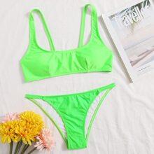 Solid Tanga Bikini Swimsuit