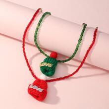 2 piezas collar de niñitas con diseño de sombrero de Navidad