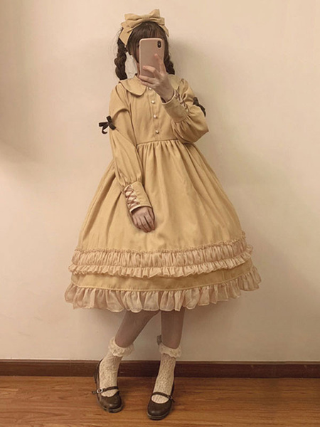 Milanoo Classic Lolita OP Dress Bow Ruffle Two Tone Cotton Lolita One Piece Dress