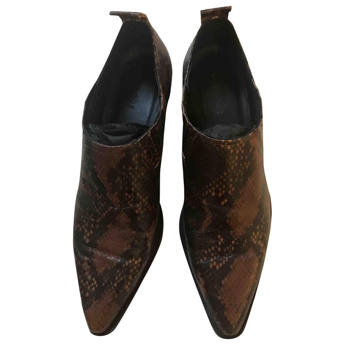 Uterque - Bottes   pour femme en cuir exotique - marron
