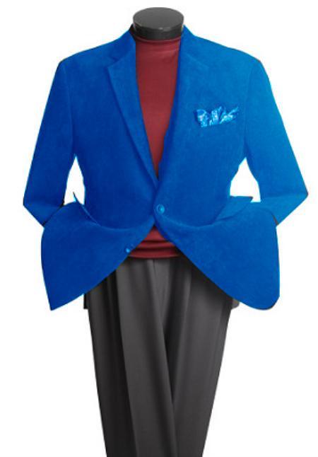 Mens 2 Button Classic Cotton/Rayon Blazer Royal Blue