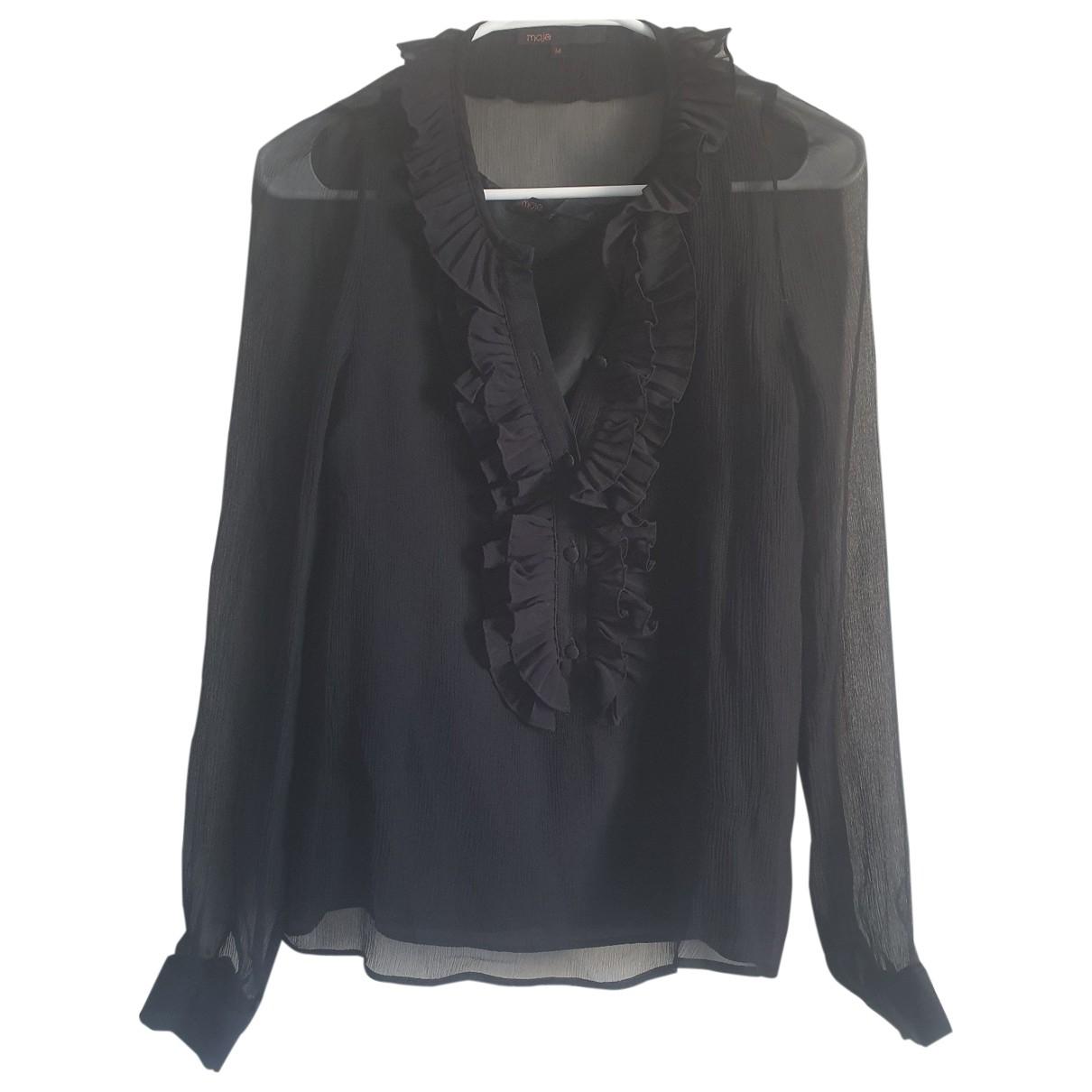 Maje - Top   pour femme en soie - noir