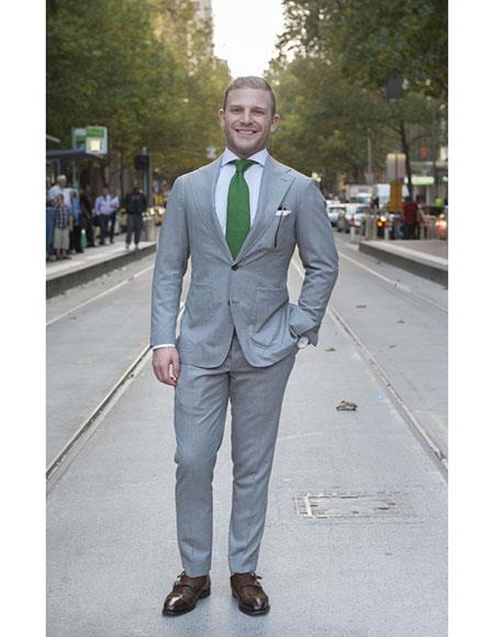 Mens 2button notch lapel side vented grey suit green tie Slim Fit