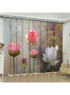 3D Fresh and Vivid Lotus Printed Polyester Custom Living Room Window Drape