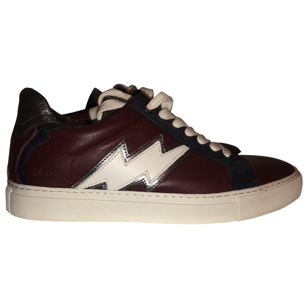 Zadig & Voltaire Zadig Stars Sneakers in  Bordeauxrot Leder