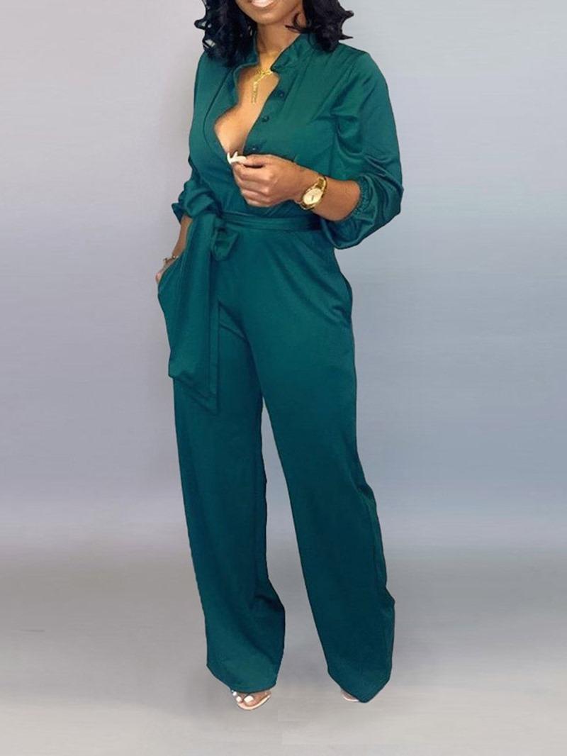 Ericdress Button Full Length Plain Straight Loose Jumpsuit