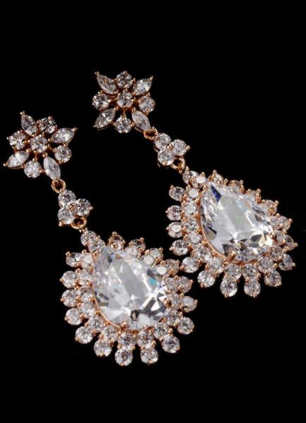 Milanoo Silver Drop Earrings Alloy Rhinestone Round Brilliant Wedding Earrings