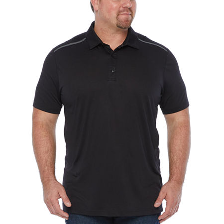Msx By Michael Strahan Big and Tall Mens Short Sleeve Polo Shirt, 4x-large Tall , Black