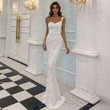 One Shoulder Sequin Mermaid Prom Dress